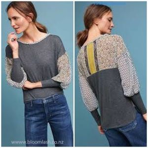 Anthropologie • Tiny printed raye top in gray